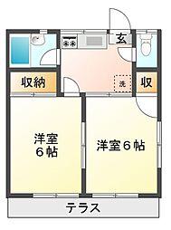 コーポタカハナII[1階]の間取り