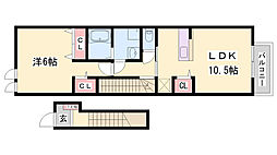 JR赤穂線 播州赤穂駅 徒歩8分の賃貸アパート 2階1LDKの間取り