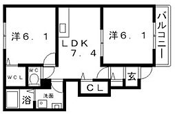 プラザ九源[1階]の間取り