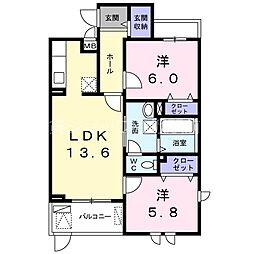 カーサ サリーレ 1階2LDKの間取り