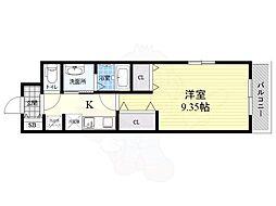 阪神本線 武庫川駅 徒歩8分の賃貸マンション 3階1Kの間取り