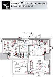 Le'a MARKS横濱参番館 8階ワンルームの間取り