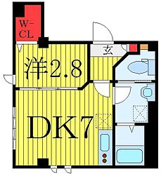 クリムハウス池袋 1階1DKの間取り