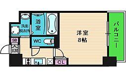 レジュールアッシュ天王寺舟橋 11階1Kの間取り