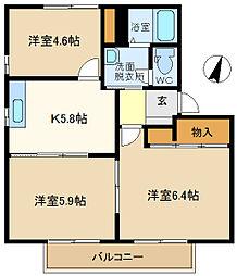カーサボニータB 202[2階]の間取り