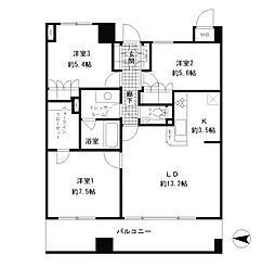 東京メトロ丸ノ内線 四谷三丁目駅 徒歩4分の賃貸マンション 11階3LDKの間取り