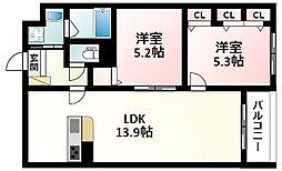 北大阪急行電鉄 緑地公園駅 徒歩17分の賃貸アパート 2階2LDKの間取り