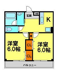 フォレストヒル・櫻 2階1LDKの間取り