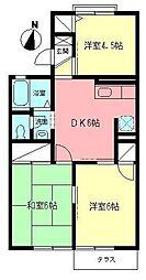 神奈川県小田原市穴部新田の賃貸アパートの間取り