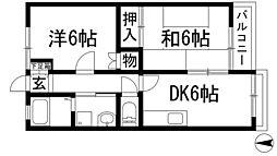 FKハイツ桃園[2階]の間取り