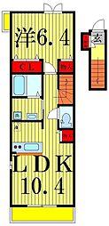 郁エスポワール2 A棟[2階]の間取り
