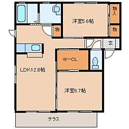 奈良県奈良市五条畑2丁目の賃貸アパートの間取り