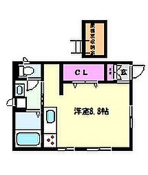JR東海道・山陽本線 六甲道駅 徒歩9分の賃貸アパート 2階ワンルームの間取り