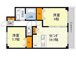 ユカミハイツ江坂[212号室]の間取り