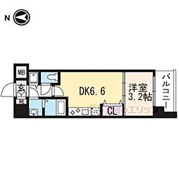 THE GARNET MILLENNIUM KYOTO九条烏丸301 3階1DKの間取り