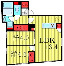 THE RESIDENCE toshima-chihaya 5階2LDKの間取り