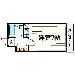ユニテソリステ鳴尾[3階]の間取り