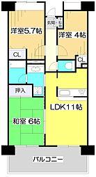 ライオンズマンション志木南[6階]の間取り