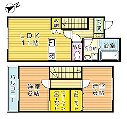 [テラスハウス] 福岡県北九州市小倉北区日明2丁目 の賃貸【/】の間取り