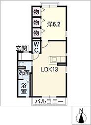 カーサ弥生[2階]の間取り