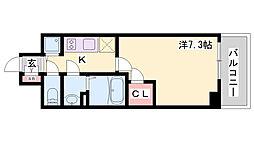 エスリード神戸ハーバーテラス 4階1Kの間取り