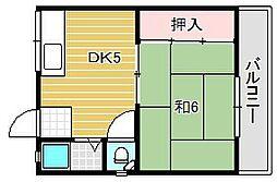 大阪府茨木市別院町の賃貸アパートの間取り