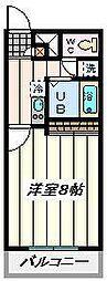 JR埼京線 北与野駅 徒歩17分の賃貸マンション 2階1Kの間取り