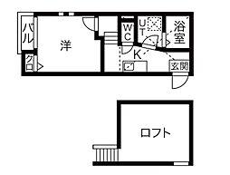 愛知県名古屋市中川区高畑2丁目の賃貸アパートの間取り