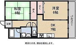 美代志ビル 5階2DKの間取り