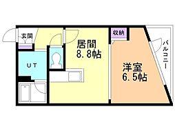 RIVERSIDE TASK KASUGA 1階1LDKの間取り