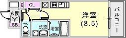 エヴァステージ神戸六甲 8階ワンルームの間取り