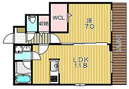 大阪府茨木市上泉町の賃貸アパートの間取り