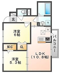 岡山県赤磐市高屋の賃貸アパート 1階2LDKの間取り