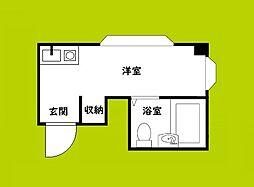 昭和グランドハイツ下寺 10階ワンルームの間取り