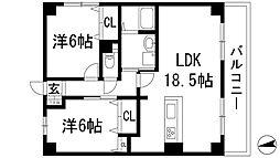 ジュネス甲東弐番館[3階]の間取り