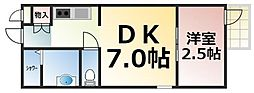 Osaka Metro千日前線 今里駅 徒歩5分の賃貸マンション 2階1DKの間取り