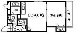 JR阪和線 久米田駅 徒歩15分の賃貸マンション 2階1LDKの間取り