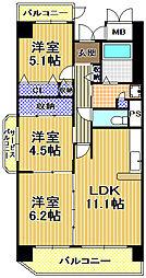 コーシャハイツ高見38[13階]の間取り