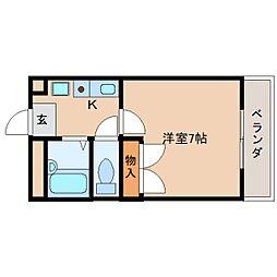 奈良県天理市田町の賃貸マンションの間取り
