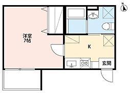 仙台市営南北線 河原町駅 徒歩7分の賃貸アパート 1階1Kの間取り