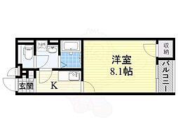 阪急京都本線 上牧駅 徒歩15分の賃貸アパート 2階1Kの間取り