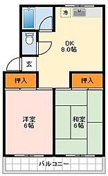 松尾コーポ 3階2LDKの間取り