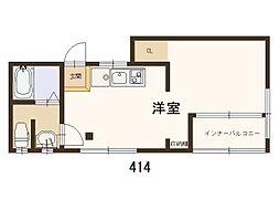 大和マンション 4階ワンルームの間取り
