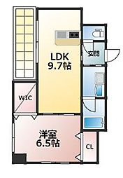 JR鹿児島本線 久留米駅 徒歩10分の賃貸マンション 8階1LDKの間取り