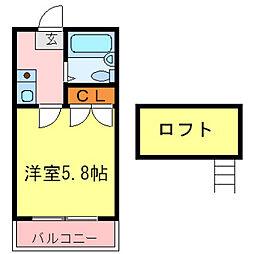 兵庫県尼崎市大島1丁目の賃貸アパートの間取り