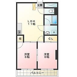 島田マンション[4階]の間取り
