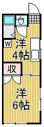 東京都目黒区下目黒4丁目の賃貸アパートの間取り
