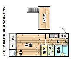 福岡県北九州市小倉北区皿山町の賃貸アパートの間取り