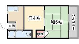 松本マンション 4階2Kの間取り