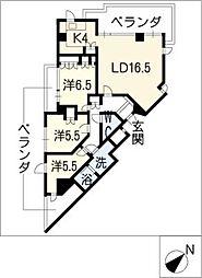 Ns21やごとB棟[6階]の間取り